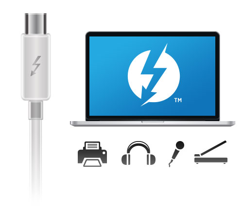 MacBook Pro con Thunderbolt Cable y Periféricos