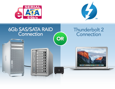 6Gb SATA/SAS RAID or Thunderbolt 2 Connections