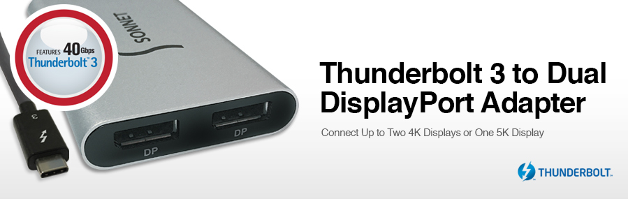 Thunderbolt 3-to-Dual DisplayPort Adapter - Connect up to Two 4K Displays or One 5K Display