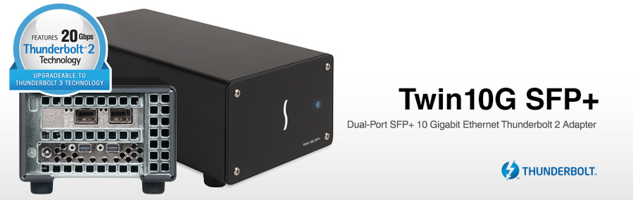 Twin 10G SFP+ 10GbE Thunderbolt Adapter