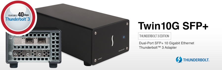 Twin 10G SFP+ 10GbE Thunderbolt 3Adapter