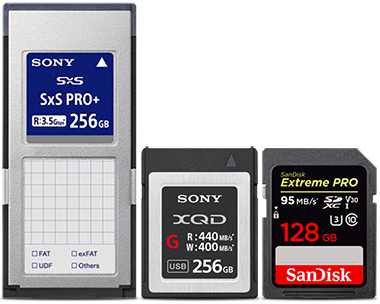 SxS Pro, XQD and SDXC Cards