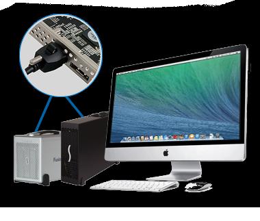 iMac met Echo Express III-D en Fusion QR