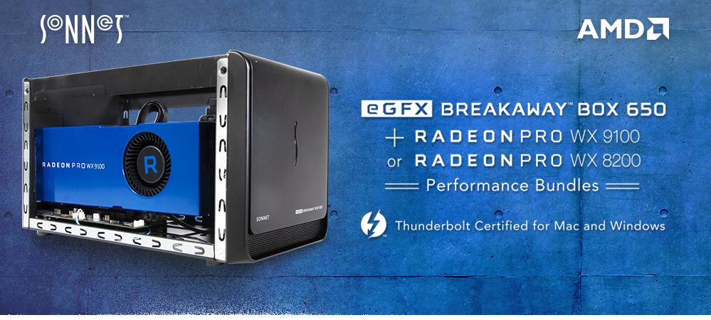 eGFX Breakaway Box 650 + Radeon Pro WX 9100 or WX 8200 Bundles