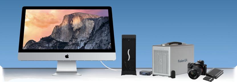 iMac Aangesloten op Express III-D Echo met Allegro Pro USB 3.0 PCIe-kaart en aangesloten USB 3.0-apparaten