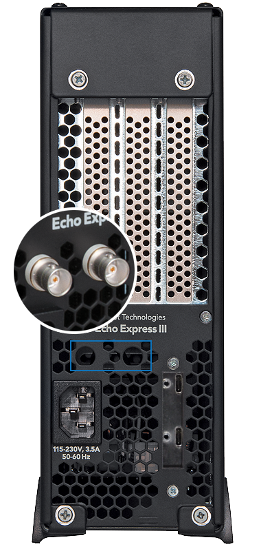 Echo Express III-D TB3 Back View with BNC Mounting Holes
