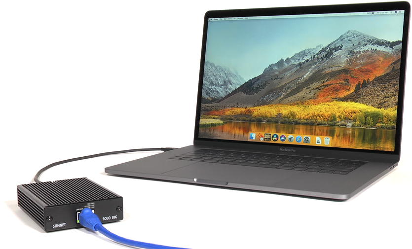 Solo10G 10GbE Connected to MacBook Pro