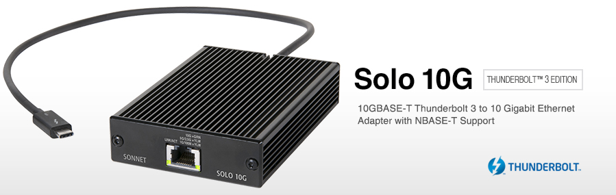 Solo10G 10GBASE-T 10Gb Ethernet Thunderbolt 3 Adapter | Sonnet