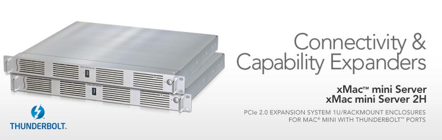 XMAC mini Server: PCIe 2.0 Uitbreiding System/1U Rackmount Enclosure voor Mac mini met Thunderbolt-poorten