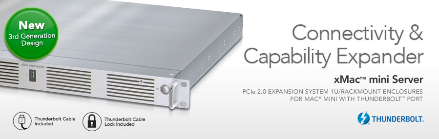 XMAC mini Server: PCIe 2.0 Uitbreiding System/1U Rackmount behuizing voor Mac mini met Thunderbolt-poorten