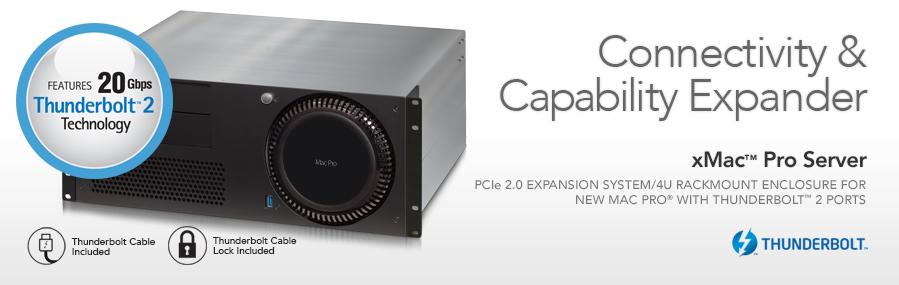 XMAC Pro Server: PCIe 2.0 Uitbreiding System/4U Rackmount behuizing voor nieuwe Mac Pro met Thunderbolt 2 poorten