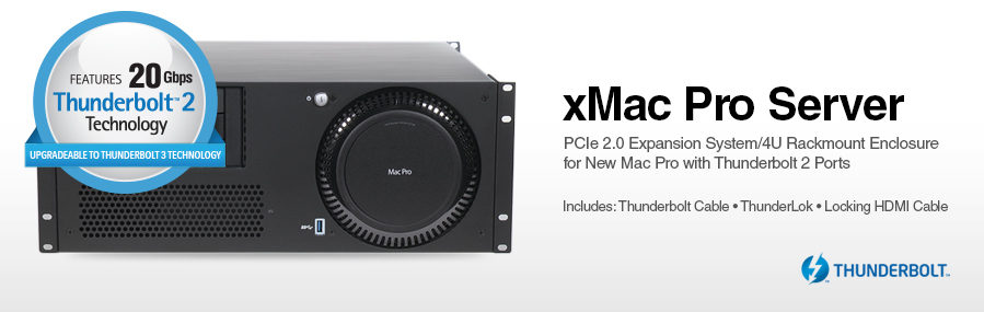 xMac Pro Server: PCIe 2.0 Expansion System/4U Rackmount Enclosure for New Mac Pro with Thunderbolt 2 Ports