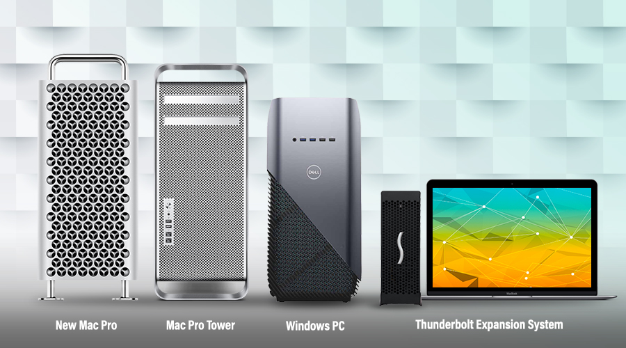 Mac Pro Tower, Windows PC en Thunderbolt Expansion System