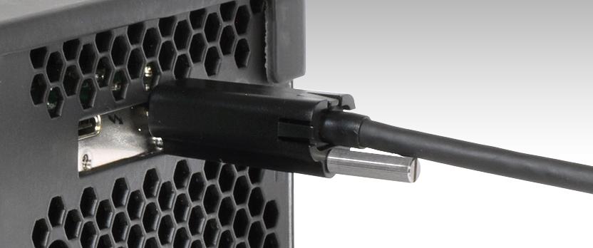 Thunderbolt 3-kabel met ThunderLok 3L aangesloten op Thunderbolt 3-poort